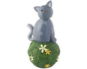 Mila Kater Carlo, grau - Gartenkugel - Dekofigur - Gartenfigur aus Resin