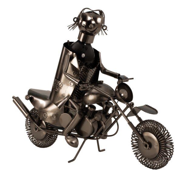 XXL Wein-Flaschenhalter Motorradfahrer Skulptur -Flaschenständer Biker mit Motorrad aus Metall