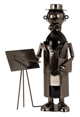 Flaschenhalter Lehrer Skulptur Studienrat Metall Weinflaschenständer