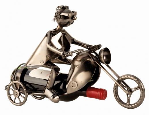 Wein-Flaschenhalter Motorradfahrer Skulptur Flaschenständer Biker mit Motorrad, Metall