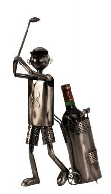 Wein-Flaschenhalter Golfspieler Skulptur - Flaschenständer Golfer mit Golftrolley