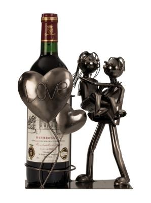 Wein-Flaschenhalter Liebespaar Love Skulptur, Flaschenständer aus Metall