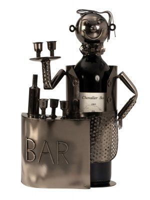 Bar Wein-Flaschenhalter Barkeeper Skulptur Flaschenständer aus Metall