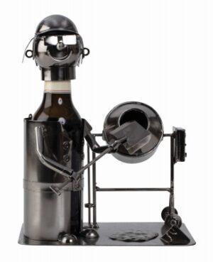 Bier-Flaschenhalter Bauarbeiter Skulptur Maurer mit Betonmischer