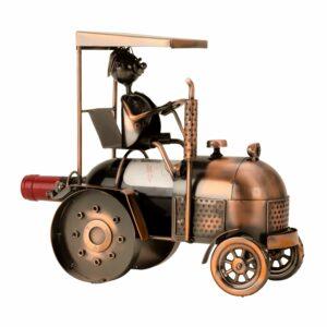 Wein-Flaschenhalter Trecker Skulptur - Traktor Bullldog mit Farmer, Kupfer