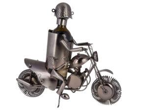 XL Flaschenhalter Motorradfahrer Skulptur Flaschenständer Biker mit Motorradaus Metall