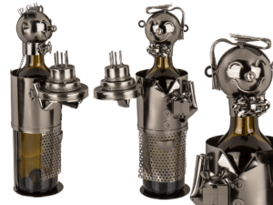 Gratulant Flaschenhalter mit Festtagstorte - Weinflaschenhalter Geburtstag Skulptur Metall