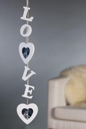 Holz Wanddeko oder Hängedeko Love Buchstaben mit 2 Herzbilderahmen