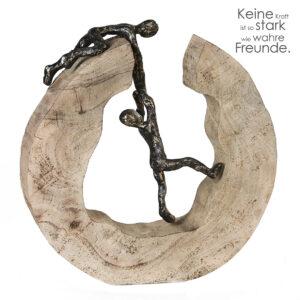 Teamwork - Holz-Aluminium Skulptur Freundschaft Liebespaar Paar Freunde Teamarbeit