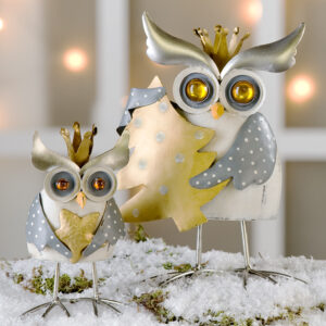 Winter Eule X-Max Crazy Owl - Wackeleule weihnachtlich - Eule mit Krone - Königseule in Antikfinish