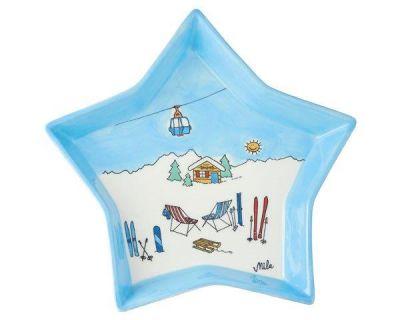 Mila Plätzchenteller Ski Holiday - Sternenteller Keramik Geschirr