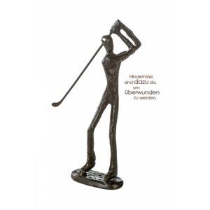 Golfer Skulptur aus Eisen - brüniert