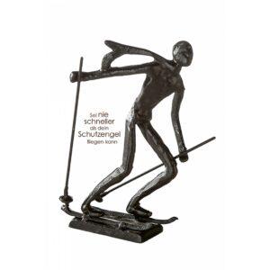 Skifahrer Skulptur aus Eisen - brüniert - Ski - Langlauf Design Figur
