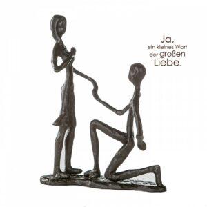 Heiratsantrag Skulptur Marry Me ? Eisen,mit Zitatanhänger - Erinnerung Liebesschwur