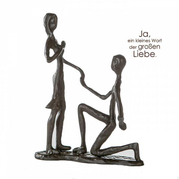 Heiratsantrag Skulptur Marry Me ? Eisen, brüniert - Erinnerung Liebesschwur