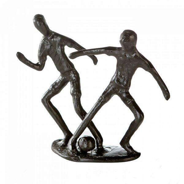 """Fußballer - Fußballspieler Skulptur aus Eisen, mit Zitatanhänger """"Erfolg hat drei Buchstaben: TUN."""""""