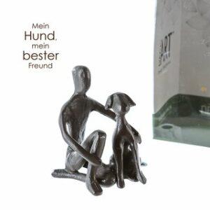 Eisen Skulptur Hundebesitzer - Herrchen mit Hund - Mini Skulptur in Geschenkbox mit Zitatanhänger