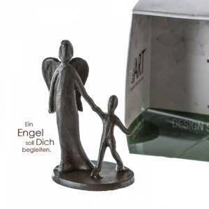 Schutzengel Mini Skulptur Engel mit Kind aus Eisen, Kinderschutzengel in Geschenkbox mit Zitatanhäner