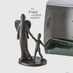 Schutzengel - Mini Skulptur aus Eisen, brüniert, in Geschenkbox