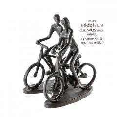 Radtour Liebespaar Design Skulptur aus Eisen, brüniert