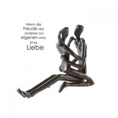 Relax Liebespaar Skulptur aus Eisen, mit Zitatanhänger