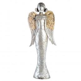 XXL Engel Metall, silber Antikfinish mit Holzapplikationen an den Flügeln,