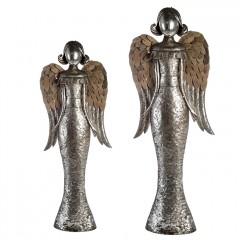 XXL Metall Engel Ella, 90-113cm, silberfarben mit Holzapplikationen an den Flügeln