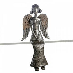 XXL Kantenhocker Metall Engel, 80cm, silber Antikfinish mit Holzapplikationen an den Flügeln