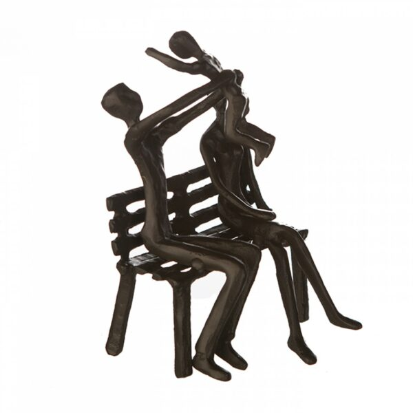 Picknick Eisen Skulptur Familie auf Parkbank - We are Family Dekoobjekt mit Zitatanhänger