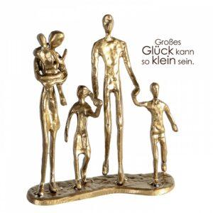 Eisen Skulptur Familien Glück - We are Family - Eltern mit 3 Kindern Dekoobjekt mit Zitatanhänger