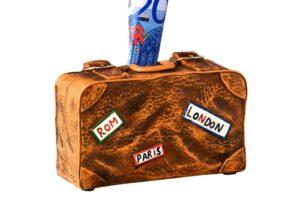 """Koffer Spardose Reisekoffer """"Rom, Paris, London"""" Sparbüchse Urlaubskasse"""