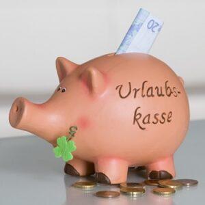 Spardose Urlaubskasse - Sparschein Glücksschwein
