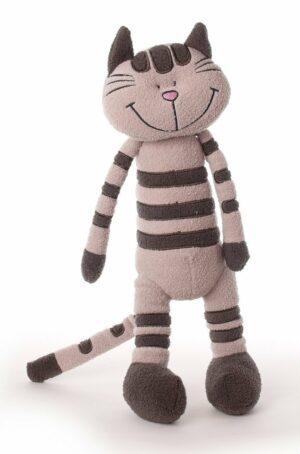 Schlenkerkatze Katie - Schlenkertier getigerte Katze - Plüschtier Kuscheltier Stofftier 34 cm - Schmusetier Garfield Spielzeug aus schadstofffreiem Material