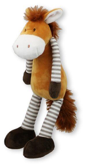 Schlenkerpferd Peggy - Schlenkertier Pferd Pony braun mit Ringelbeinen, 35 cm
