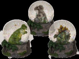 Dinosaurier Schneekugel - Dino Glitterkugel T-Rex, Stegosauruas, Triceratops Schüttelkugel für Jungs