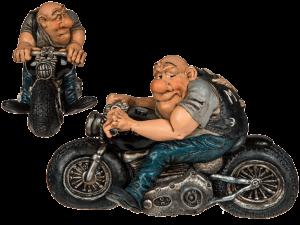 Deko Figur Motorrad - Biker Skulptur Motorradfahrer Easy Rider