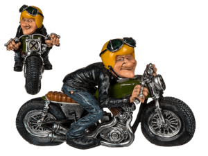 Deko Figur Motorrad - Biker Skulptur Motorradfahrer mit Helm - Easy Rider