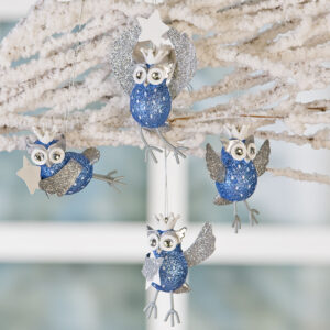 Glitzer Eulen Christbaum-Anhänger - Hänger Eule Lotta · blau silber weiß