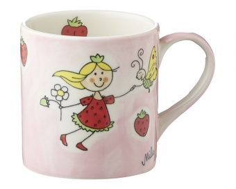 Mila Kinderbecher Erdbeer Fee - 180 ml Tasse - Henkelbecher - Keramik
