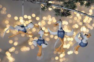 Weihnachtsbaumhänger Gans - Glitzer Gans Christbaum-Anhänger - Bella nordic blau