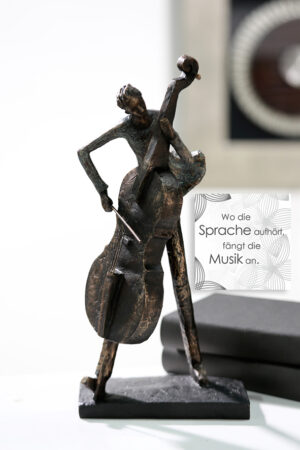 Cello Musiker Skulptur Cellospieler - Kunstobjekt in bronzefinish
