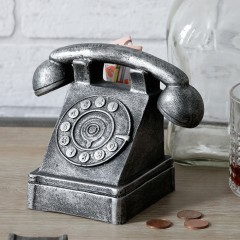 Nostalgie Spardose Telefon - Deko Telefonapparat in Antik Silber Finish