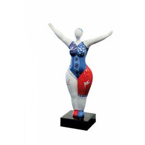 Dicke Frau Skulptur Nana Caribbean Ballerina mit Piraten Look auf Mamor Sockel