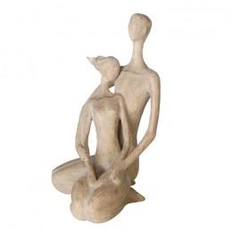 Paar Skulptur Couple, Holzoptik - Liebespaar sitzend