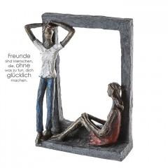 Chillen - farbige Skulptur - Liebespaar - Poly Pärchen im Rahmen