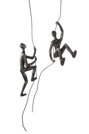 kletter Skulptur Scramble - Mann am Seil kletternd -antik silber - Kletterfigur Wanddeko oder Hängedeko ca. 50 cm