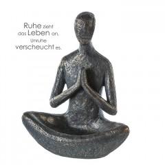 Vogeltränke Yoga Skulptur - Mannim Lotussitz - Polystone in bronzefarben