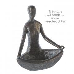 Vogeltränke Yoga Skulptur - Frau im Lotussitz - Polystone in bronzefarben