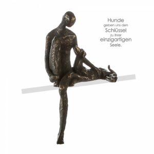 Bester Freund Skulptur Kantenhocker Mann mit Hund, inkl. Spruchanhänger