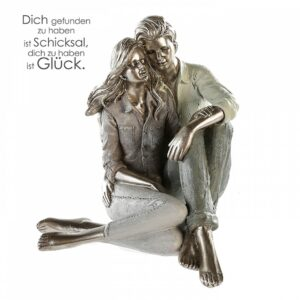 Paar Skulptur modern Couple - Liebespaar sitzend Zitatanhänger zum Thema Partnerschaft und Liebe